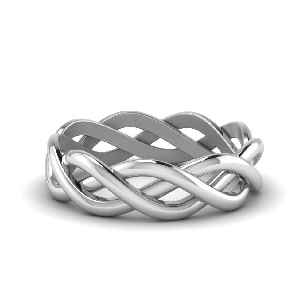 Braided Gold Wedding Ring In 14K White Gold | Fascinating Diamonds For Braided Wedding Bands (View 6 of 15)