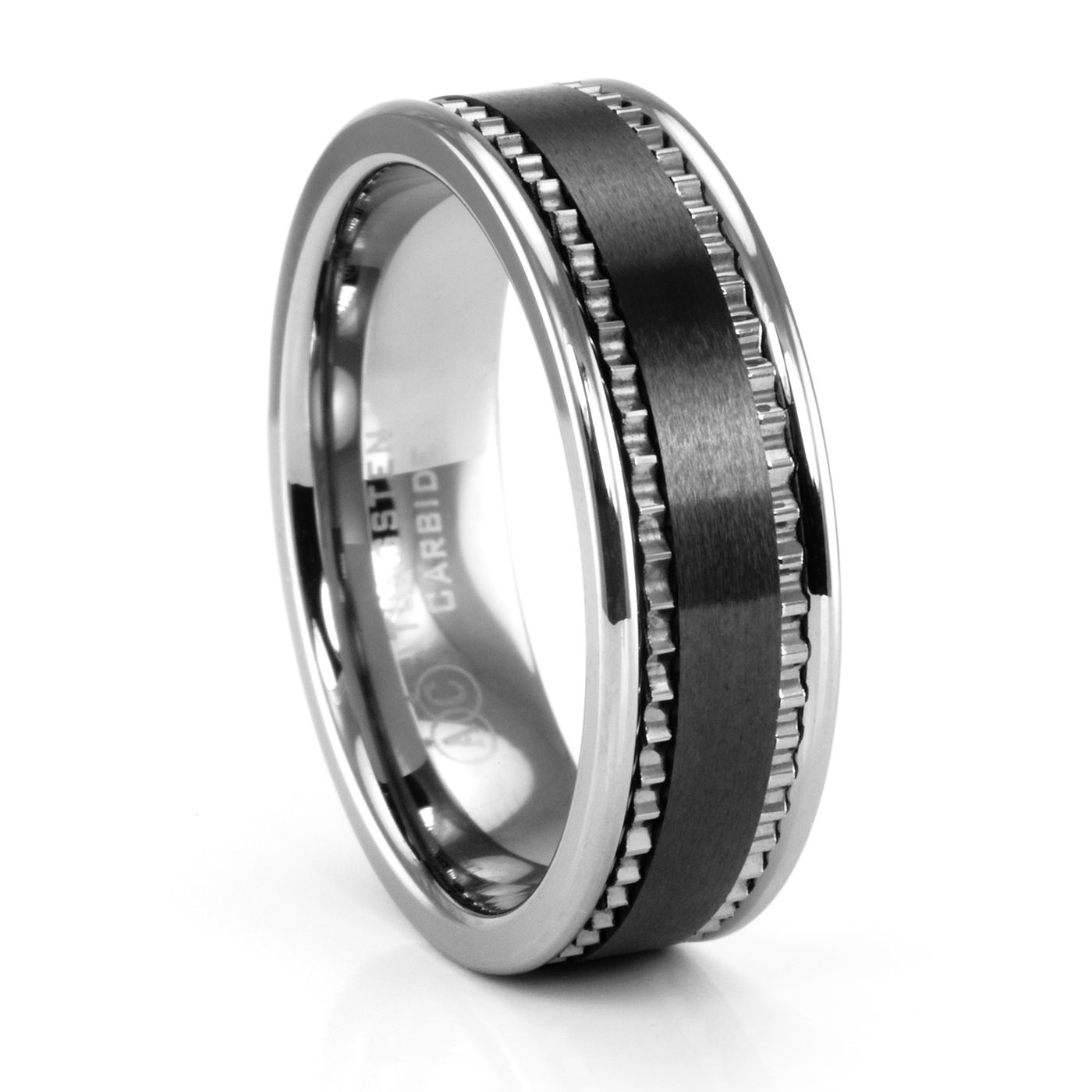 Brando Tungsten & Black Ceramic Ring – Artcarved – Men's Wedding Bands Pertaining To Black Male Wedding Bands (View 15 of 15)