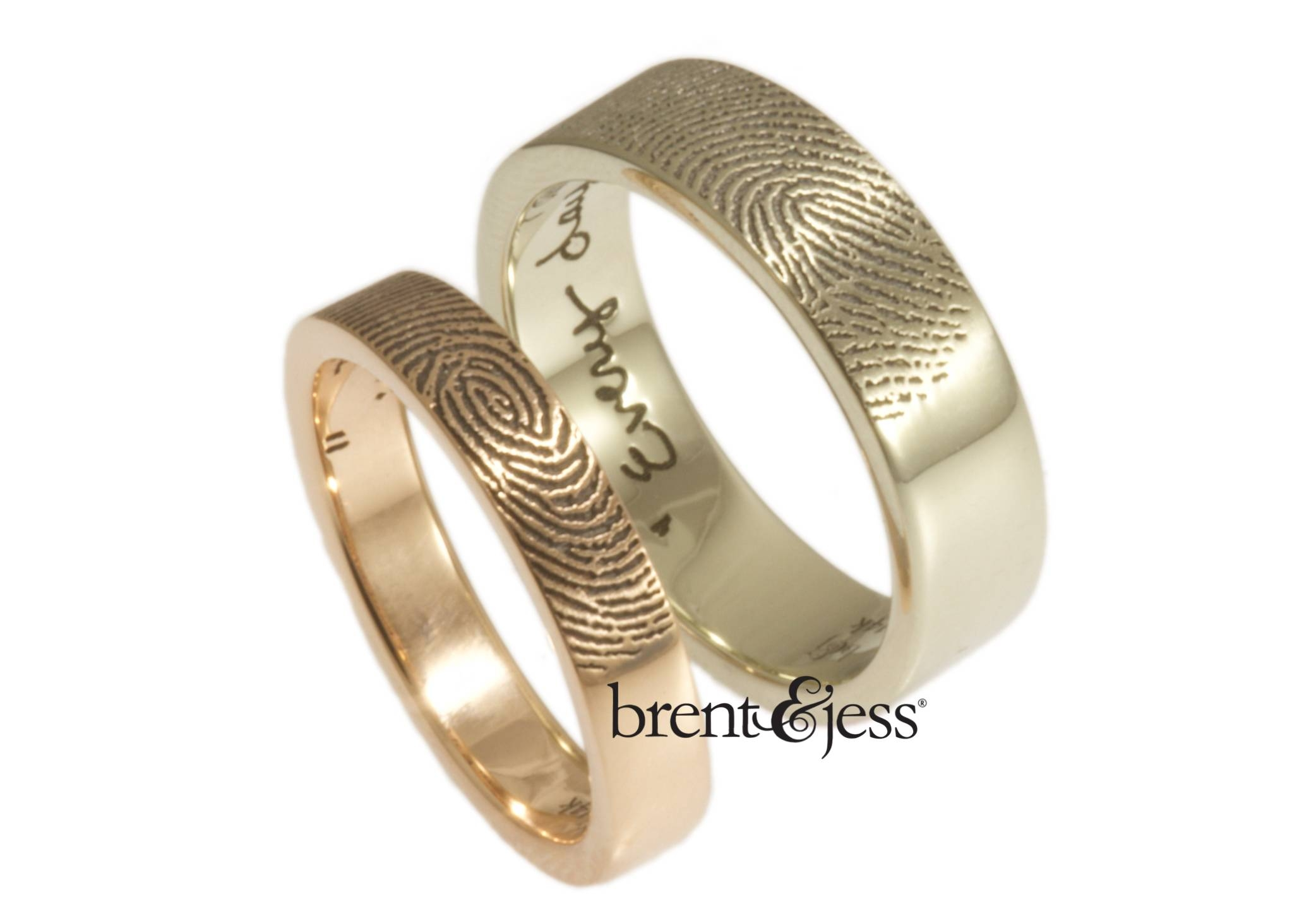 Brent&jess Fingerprint Wedding Rings · Ruffled Pertaining To Finger Print Wedding Rings (View 6 of 15)