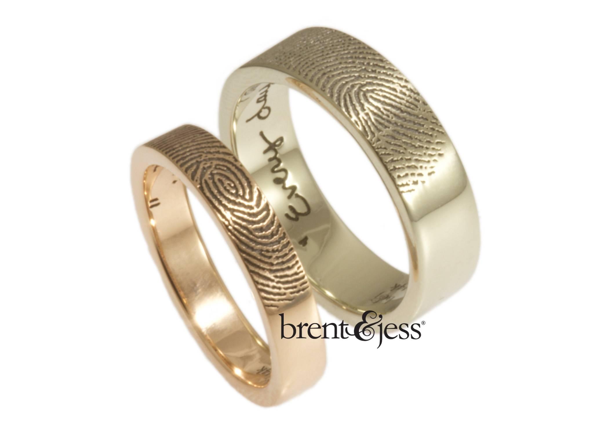 Brent&jess Fingerprint Wedding Rings · Ruffled With Fingerprint Wedding Bands (View 8 of 15)