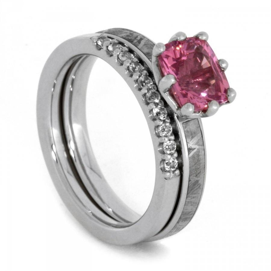 Bridal Set With Pink Gemstone, Meteorite Engagement Ring And In Swarovski Crystal Wedding Rings (View 4 of 15)