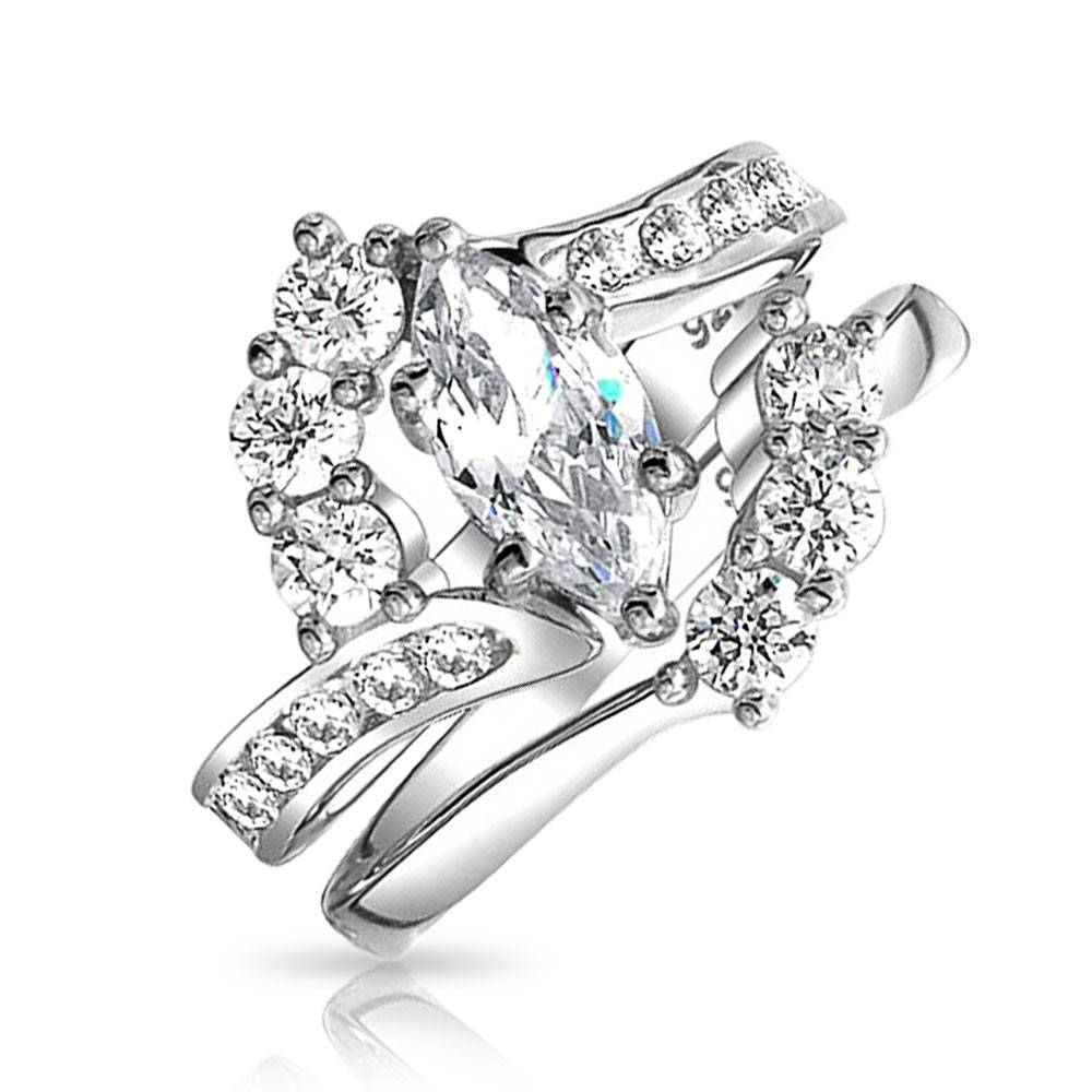 Bridal Sterling Silver 1ct Marquise Cz Engagement Wedding Ring Set For Platinum Cubic Zirconia Wedding Rings (Gallery 7 of 15)