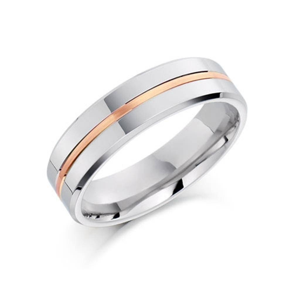 Brown & Newirth 7128 Palladium & 18Ct Rose Gold Wedding Ring, 5Mm Pertaining To 2018 5Mm Palladium Wedding Bands (View 2 of 15)