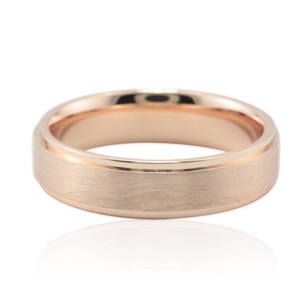 Brushed Men's Wedding Band 5Mm Square Edge Design In Rose Gold Throughout Mens Rose Gold Wedding Bands (View 3 of 15)