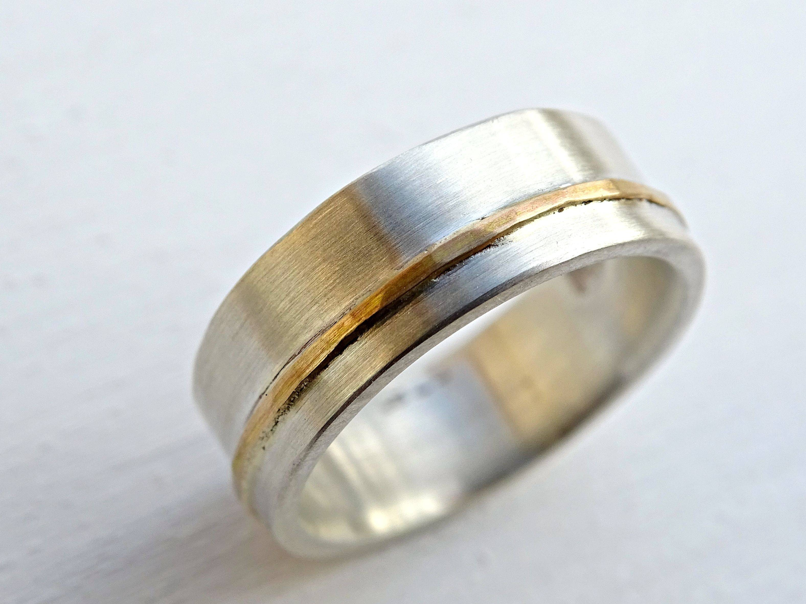 Buy A Hand Crafted Viking Wedding Ring, Mens Wedding Band Gold Throughout Silver And Gold Mens Wedding Bands (View 5 of 15)