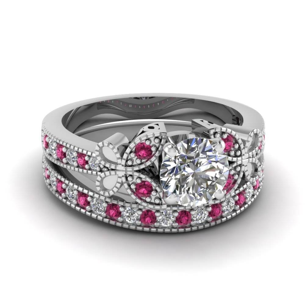Buy Affordable Pink Sapphire Wedding Ring Sets Online Regarding Most Recently Released Pink Sapphire Diamond Wedding Bands (View 6 of 15)