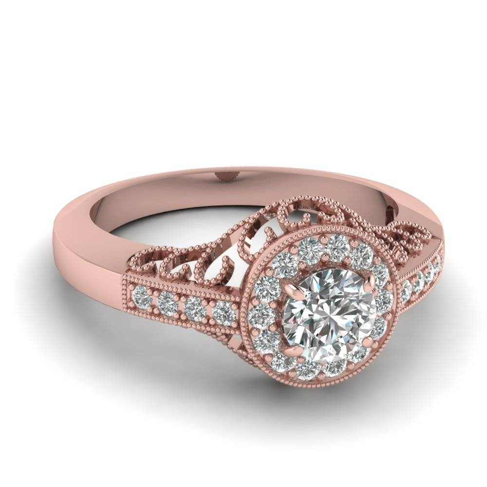 Buy Affordable Vintage Rose Gold Engagement Rings Online Regarding Vintage Halo Engagement Ring Settings (View 4 of 15)