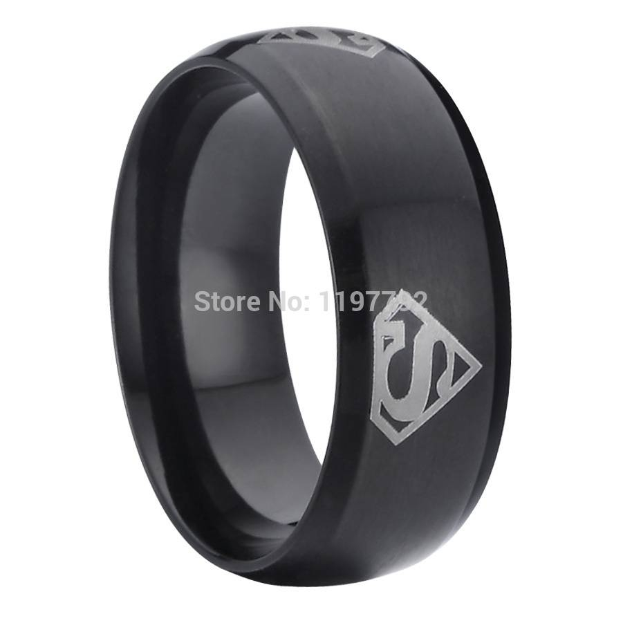 Buy Cool Man Jewelry Superman Symbols Black Wedding Bands Mens Throughout Black Wedding Bands For Men (View 11 of 15)