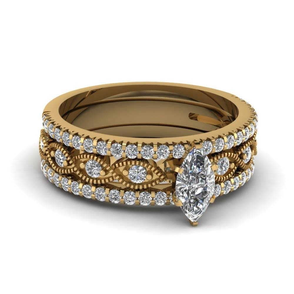 Buy Our Marquise Shaped Trio Wedding Ring Sets At Variable Designs For Most Popular Yellow Gold Wedding Band Sets (View 15 of 15)