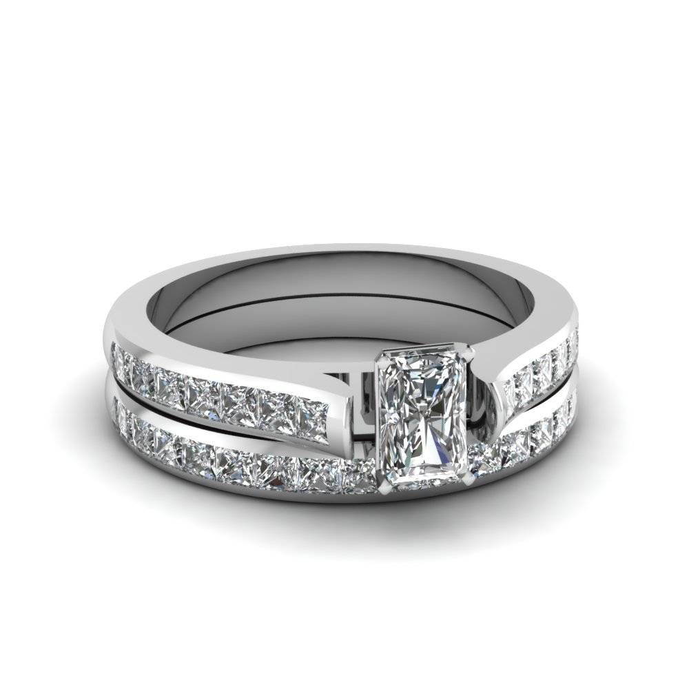 Buy Radiant Cut Wedding Sets Online | Fascinating Diamonds With Regard To Rectangular Radiant Cut Diamond Engagement Rings (View 8 of 15)