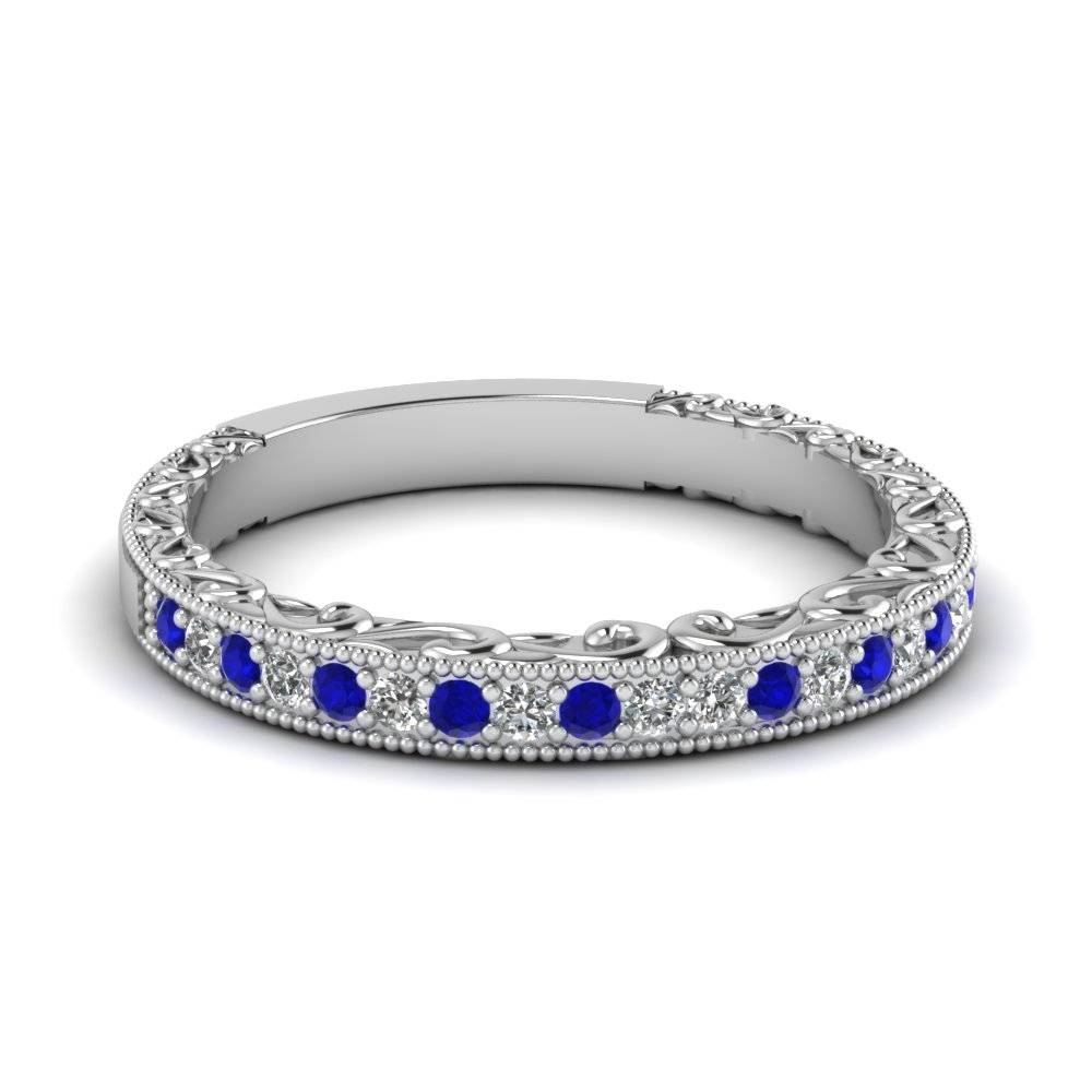 Buy Stunning Sapphire Wedding Bands For Women | Fascinating Diamonds Inside Wedding Bands With Gemstones (View 2 of 15)