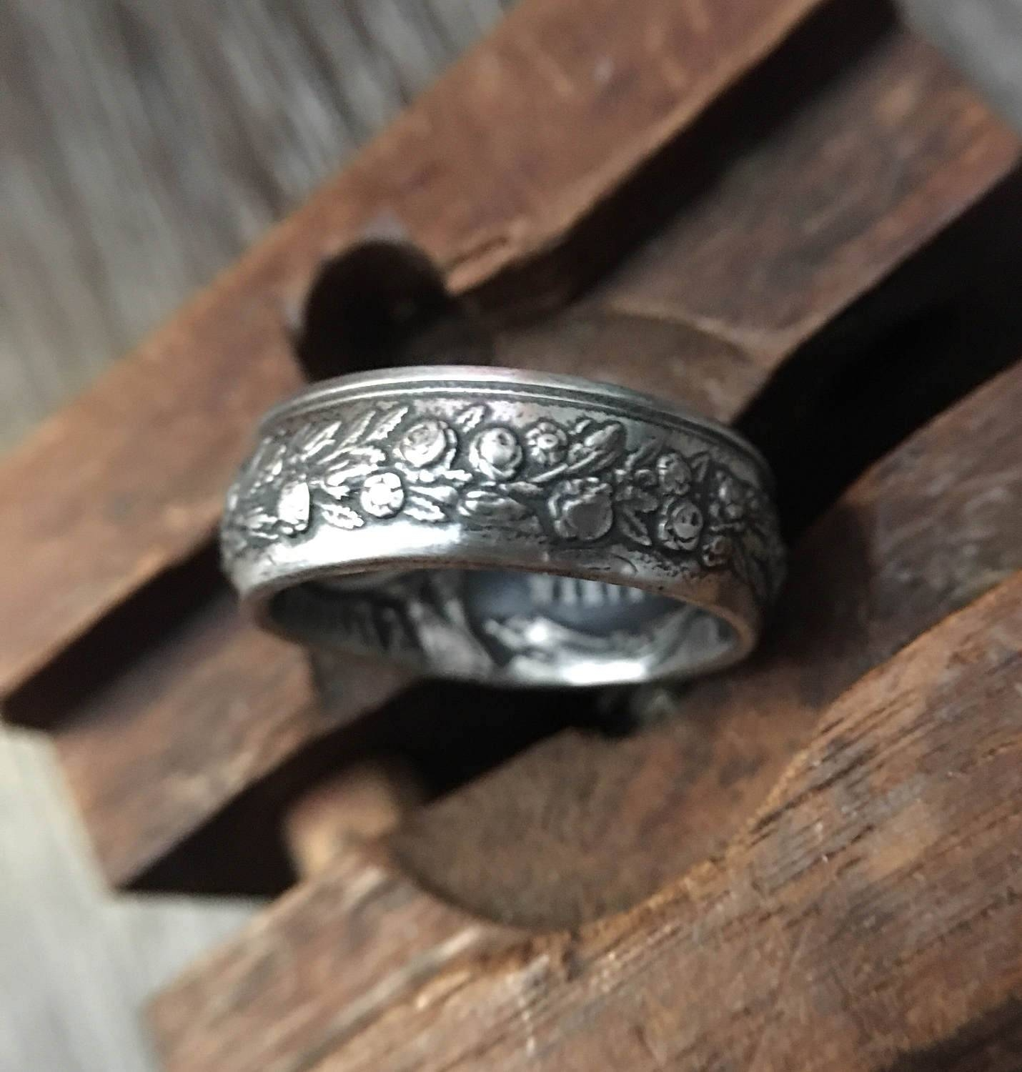 C.1868 Sterling Silver French Wedding Token Coin Ring | Wedding For Most Up To Date French Wedding Bands (Gallery 11 of 15)