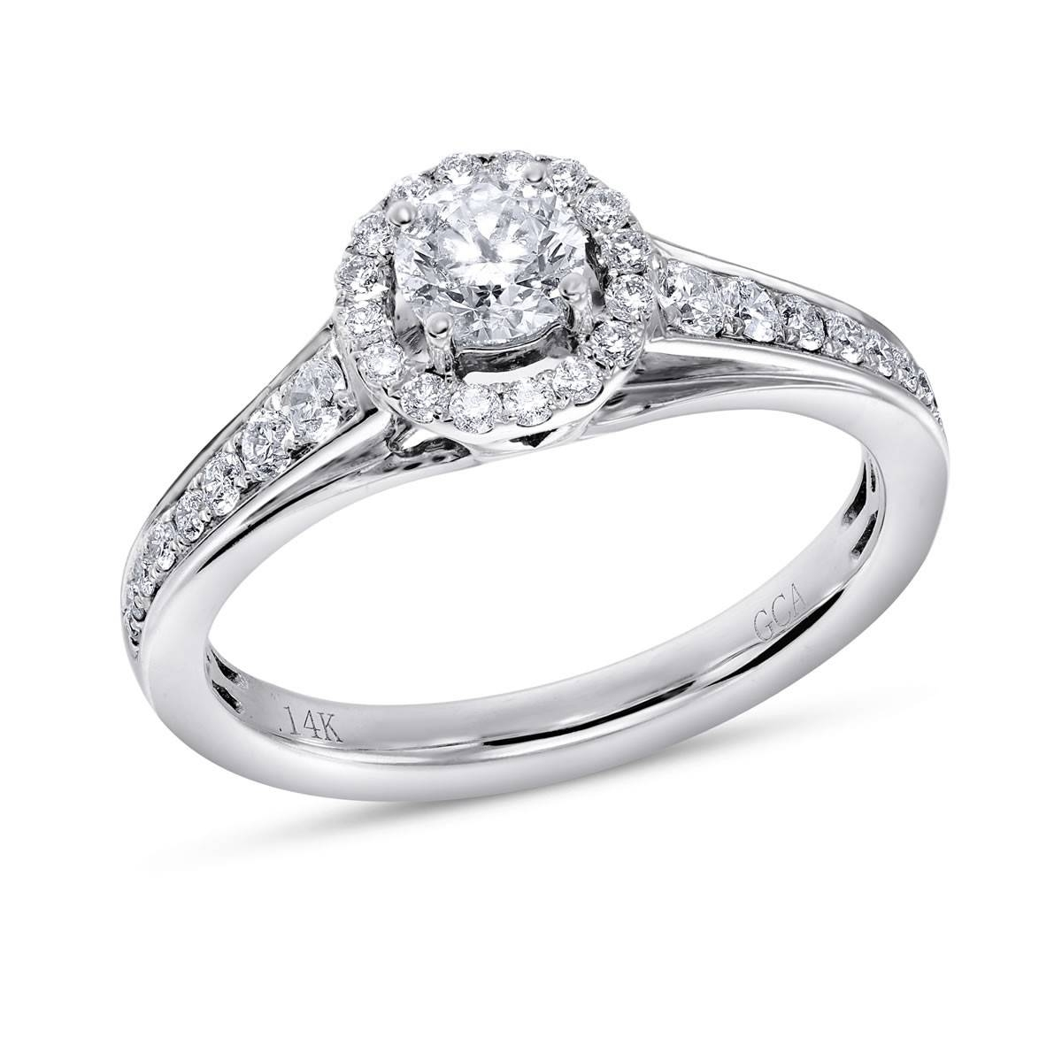Calista, 14K White Gold I1 Round Diamond Engagement Ring, 3/4 Ctw With Regard To 14K White Gold Engagement Rings (Gallery 13 of 15)