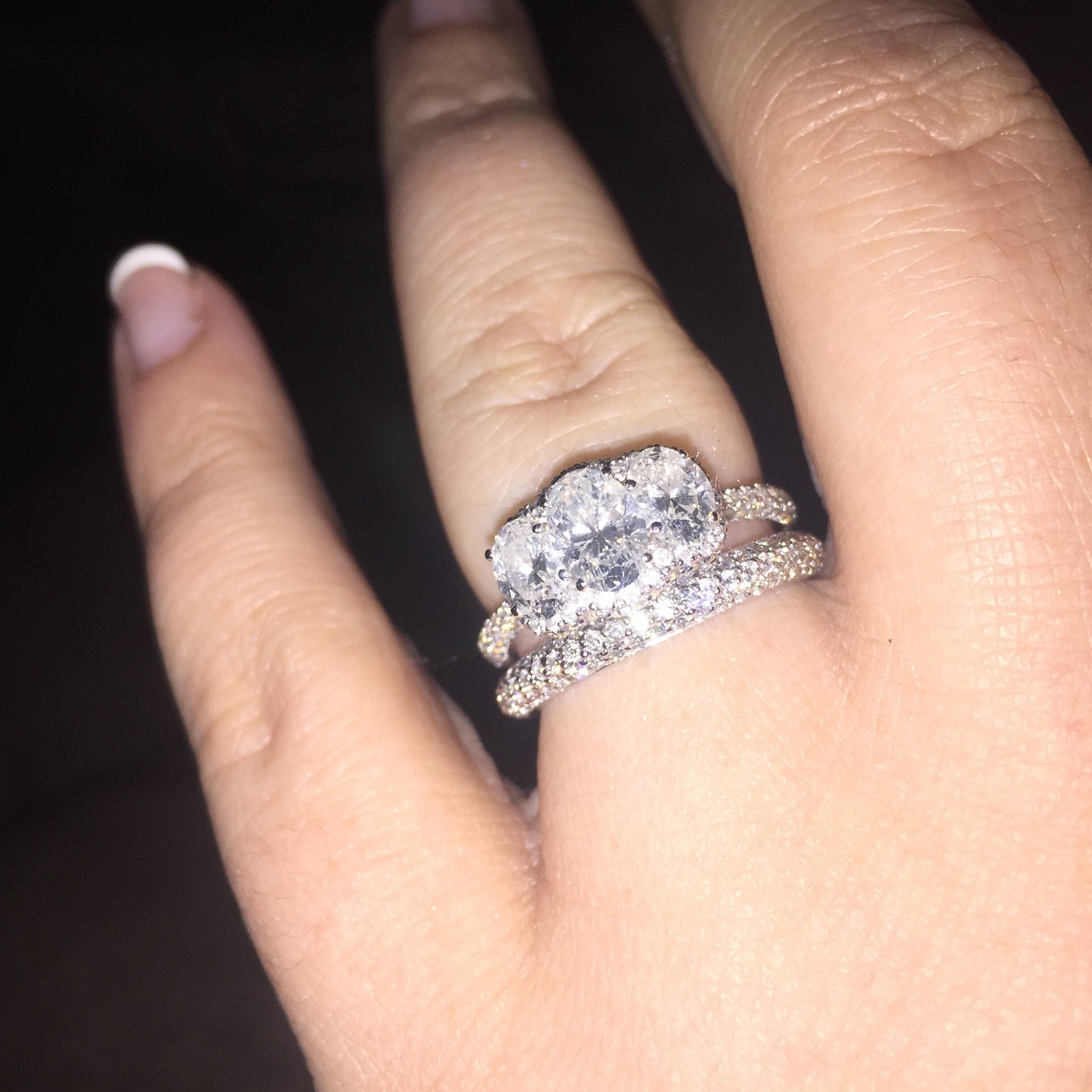 Can I See Your Wedding Band With 3 Stone Engagement Rings Throughout Three Stone Engagement Rings With Wedding Band (View 7 of 15)