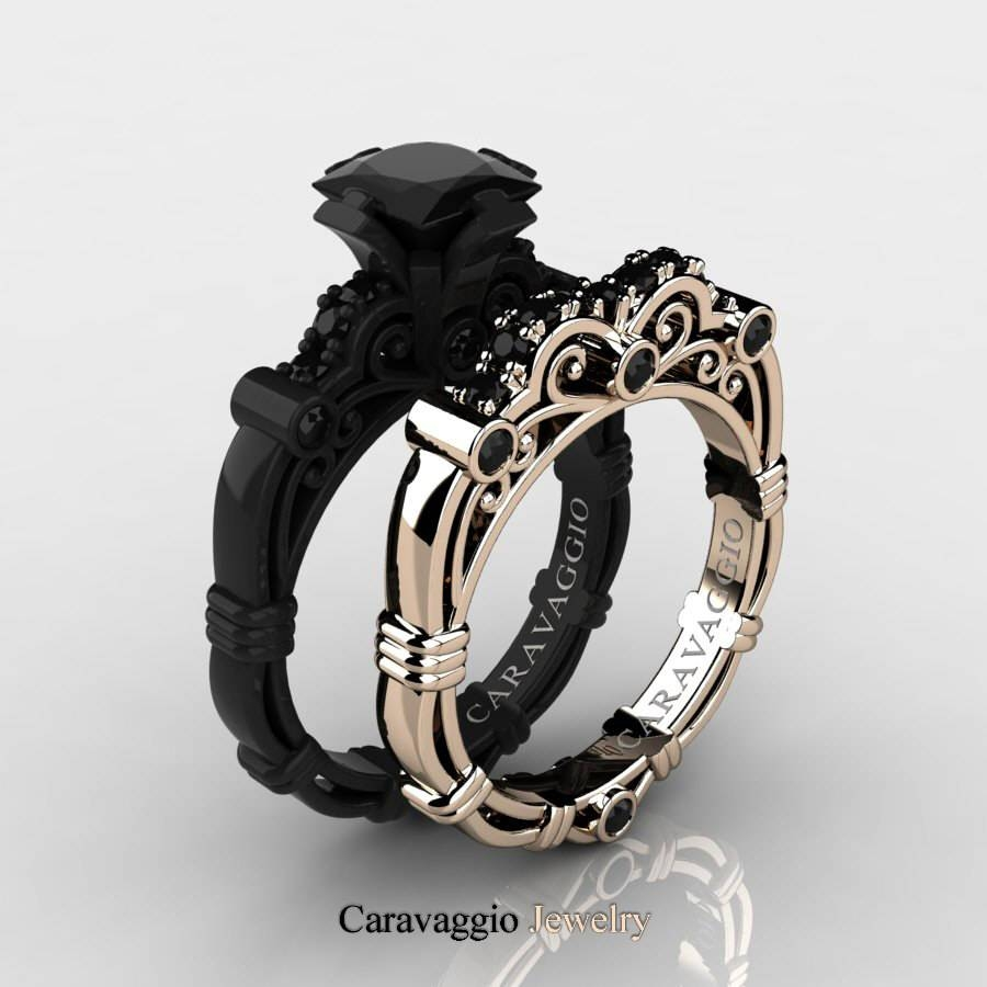 Caravaggio 14K Black And Rose Gold 1.25 Ct Princess Black Diamond Throughout 14K Black Gold Princess Diamond Engagement Rings (Gallery 9 of 15)