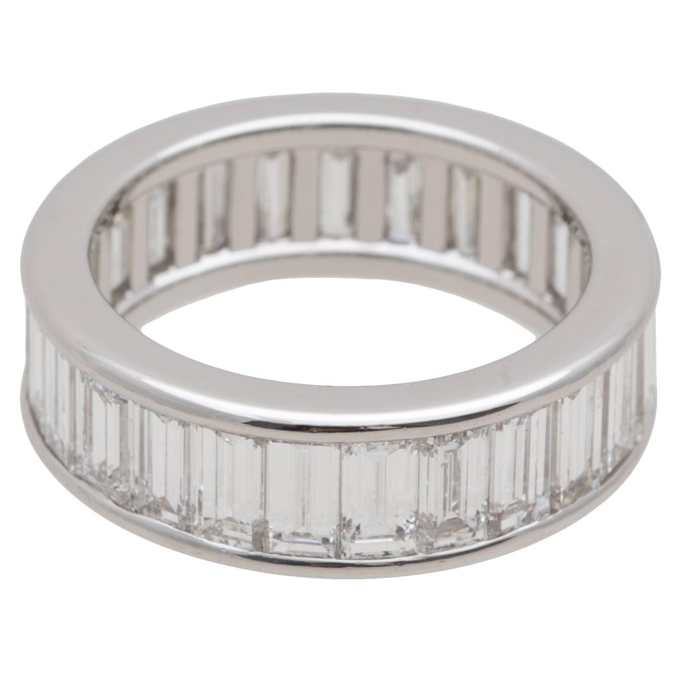 Cartier Diamond Baguette Platinum Eternity Wedding Ring For Sale Within Baguette Cut Diamond Wedding Bands (View 2 of 15)