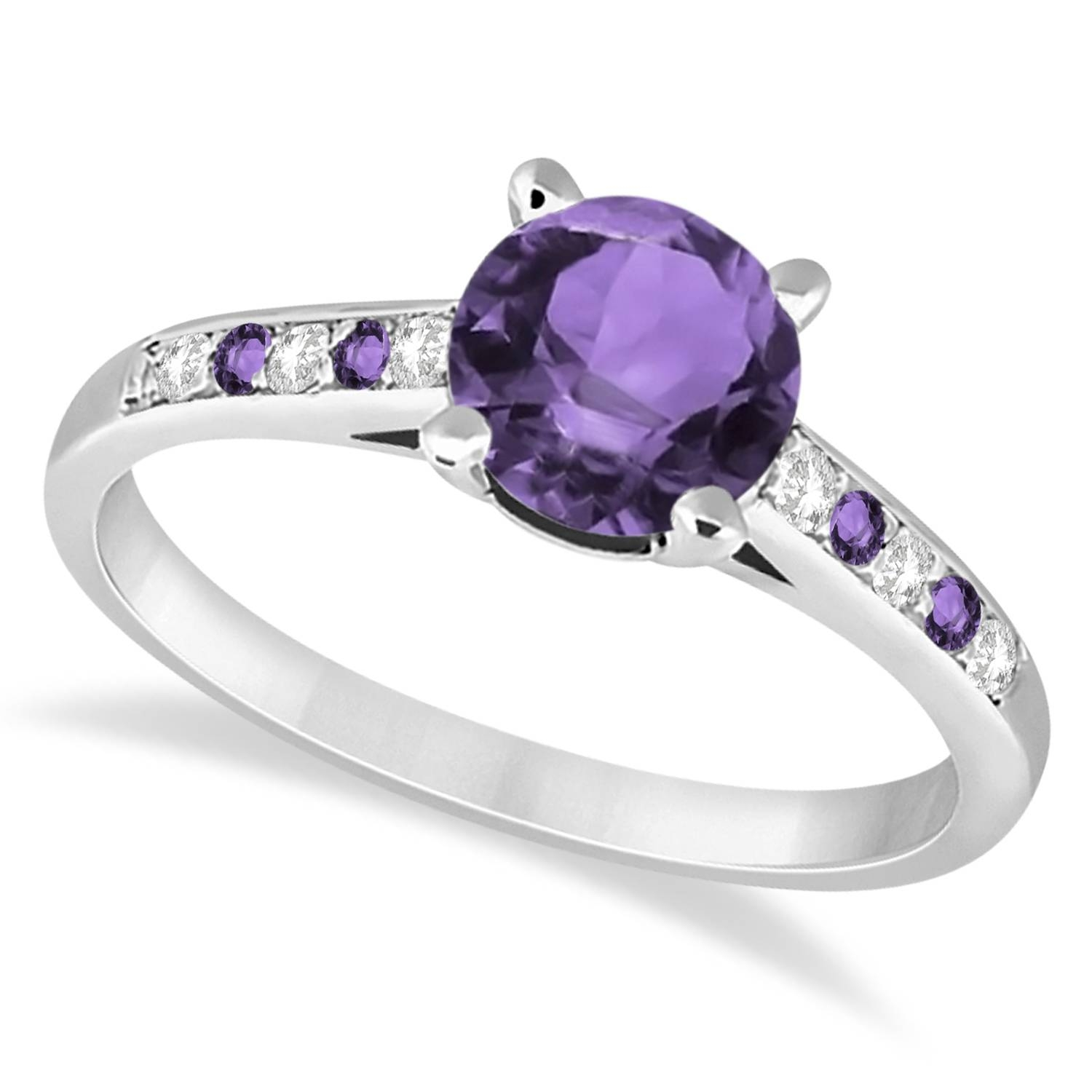 Cathedral Amethyst & Diamond Engagement Ring 14K White Gold  (View 5 of 15)
