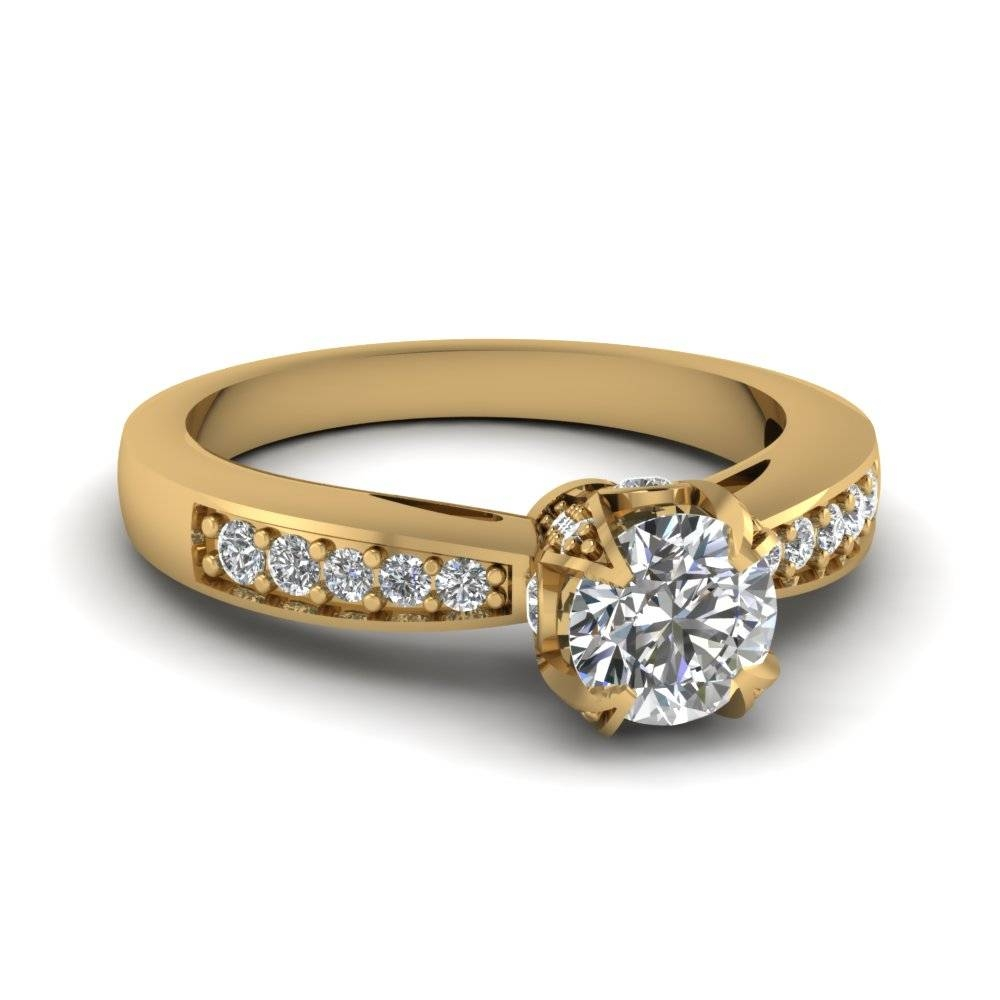 Cathedral Crown Set Round Cut Womens Wedding Diamond Ring In 14K With Gold Wedding Rings For Women (View 4 of 15)