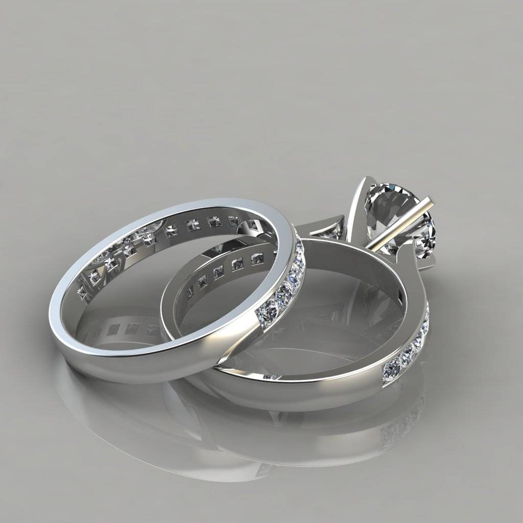 Cathedral Engagement Ring And Wedding Band Set – Puregemsjewels With Regard To Ring And Wedding Band (Gallery 15 of 15)