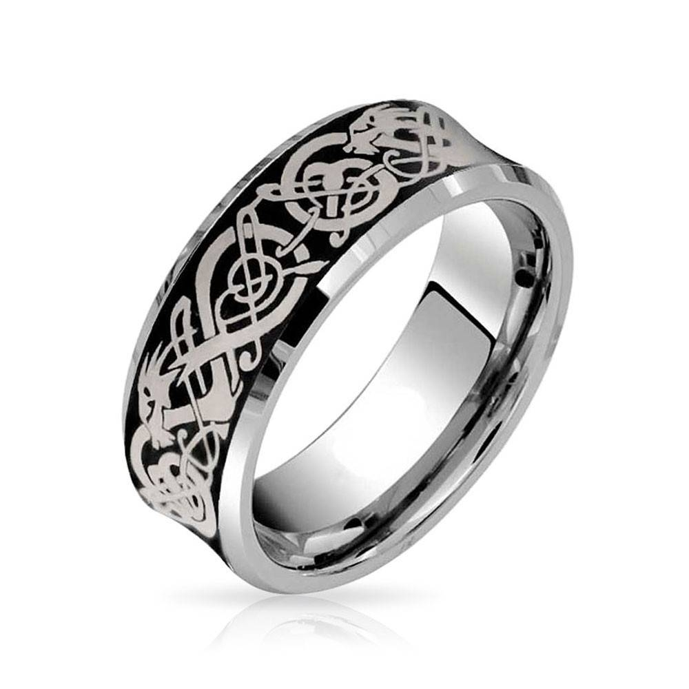 Celtic Dragon Unisex Tungsten Wedding Ring 8Mm With Regard To Jewelry Wedding Bands (View 3 of 15)
