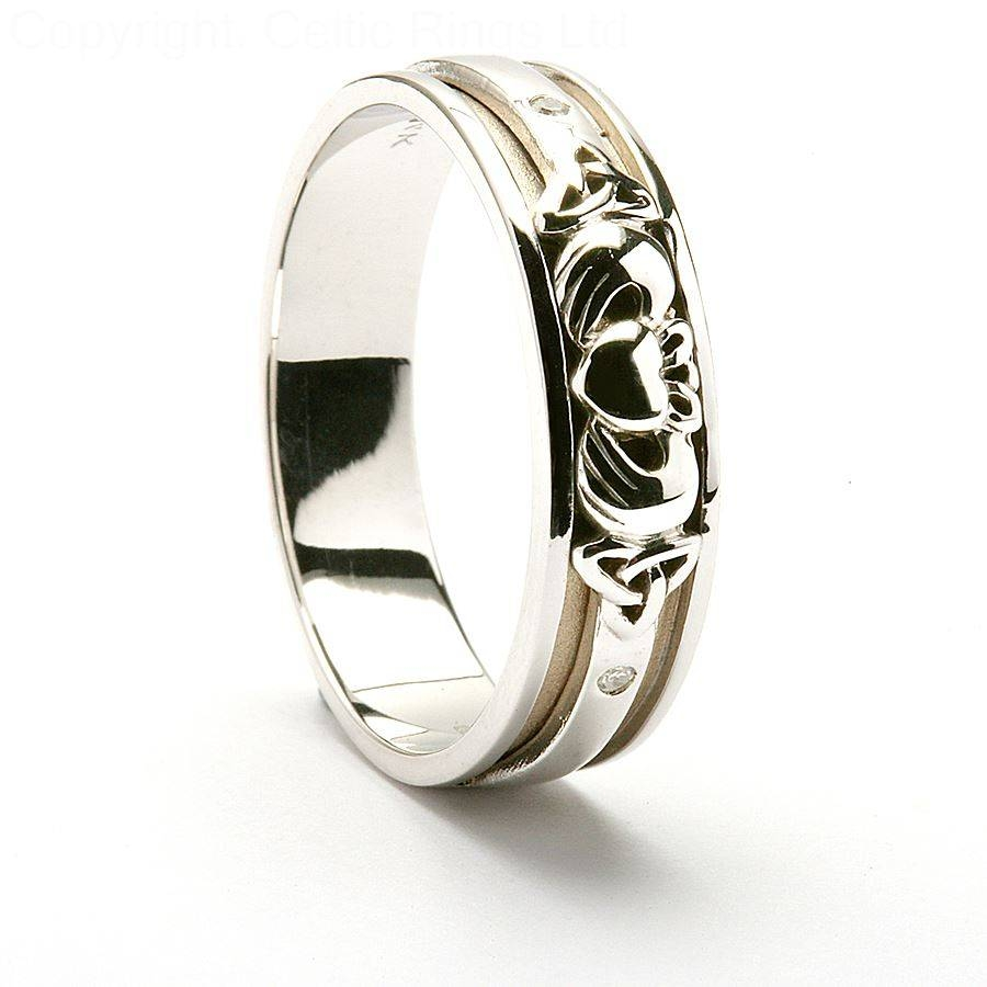 Celtic Gold Band Tags : Claddagh Mens Wedding Ring Mens Platinum Throughout Mens White Gold Claddagh Wedding Bands (View 10 of 15)