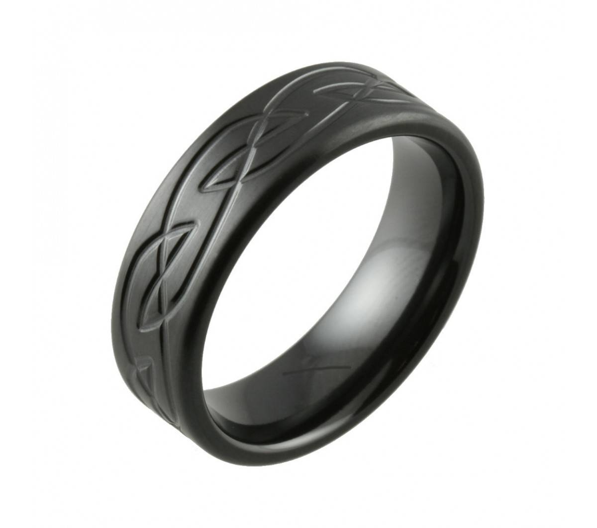 Celtic Knot Satin Finish Black Zirconium Wedding Ring For Black Zirconium Wedding Bands (View 5 of 15)
