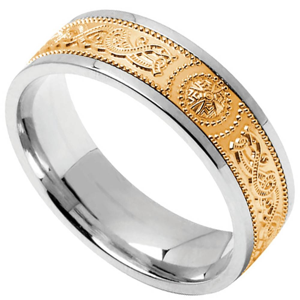 Celtic Ring – Men's Sterling Silver With 10K Yellow Gold Wide Inside Silver And Gold Mens Wedding Bands (View 6 of 15)