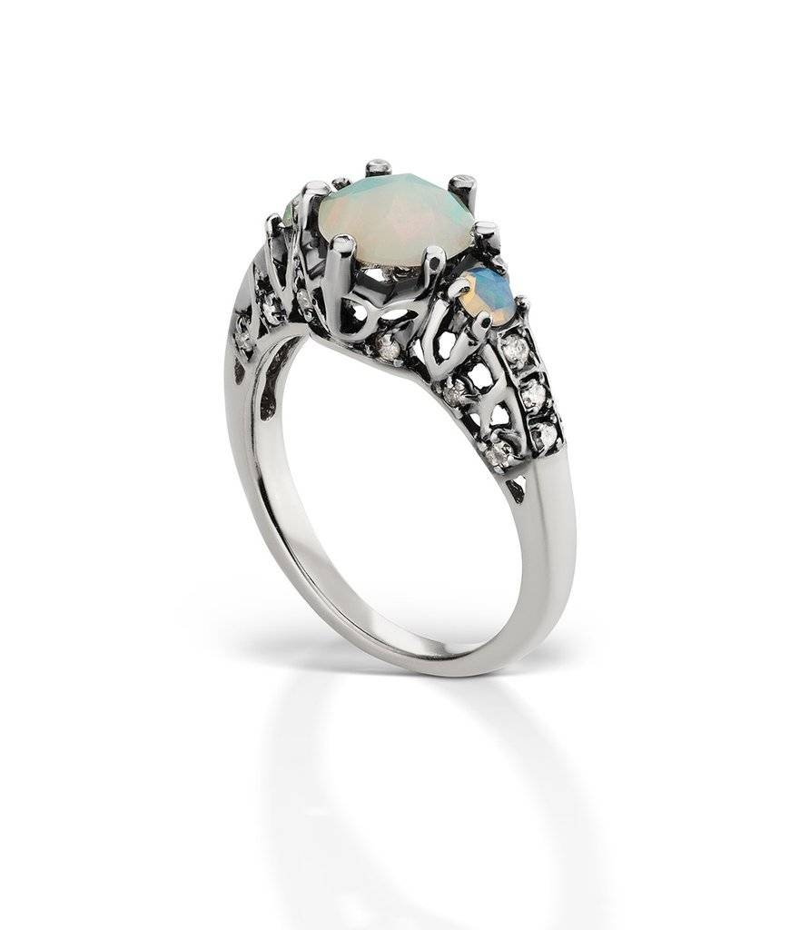 Ceremonial Engagement Ring 14K White Gold With Opal, $4,800 | Opal With Australia Opal Engagement Rings (View 7 of 15)