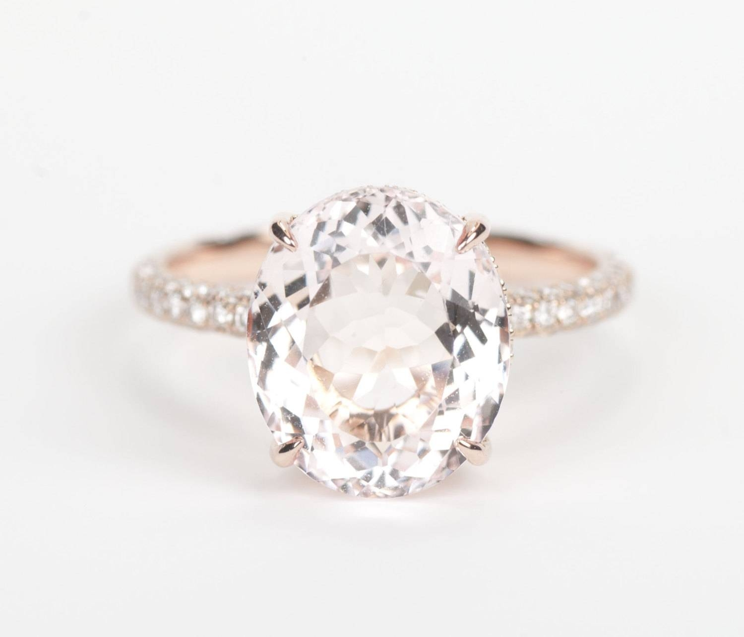 Certified Gia Certified Oval Peach Pink Morganite & Diamond Regarding Pink And Diamond Engagement Rings (View 4 of 15)