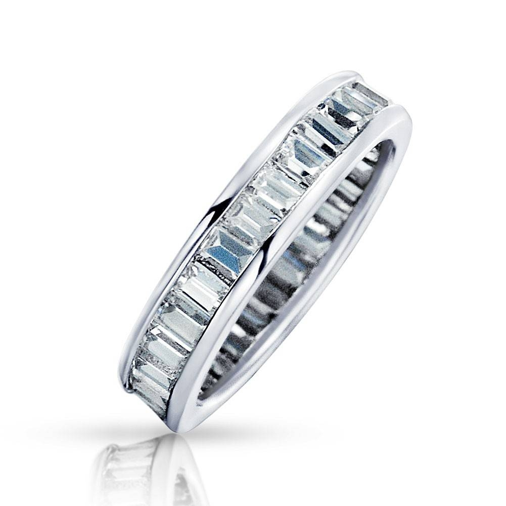 Channel Set Cz Sterling Silver Wedding Band Eternity Ring In Best And Newest Eternity Rings With Wedding Bands (Gallery 10 of 15)