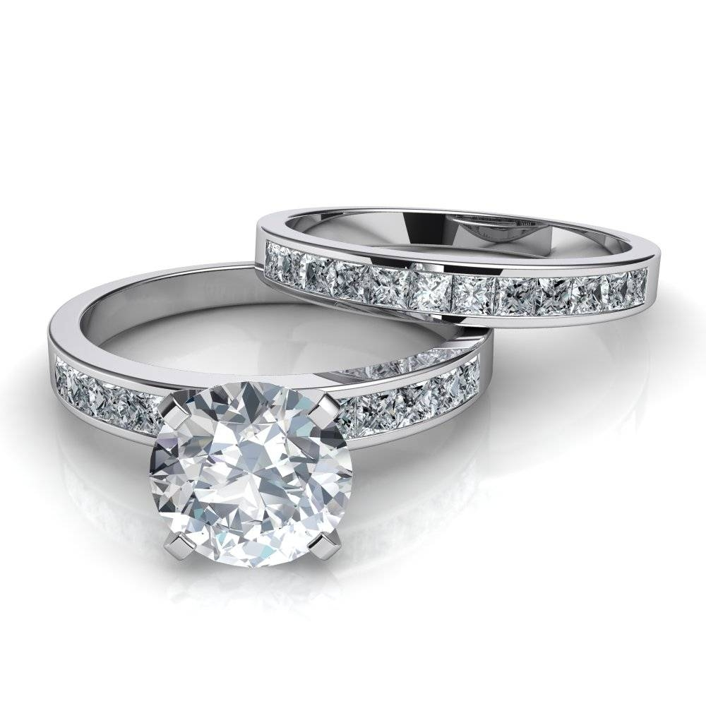 Channel Set Diamond Engagement Ring And Wedding Band Bridal Set Pertaining To Wedding Rings Bridal Sets (View 2 of 15)