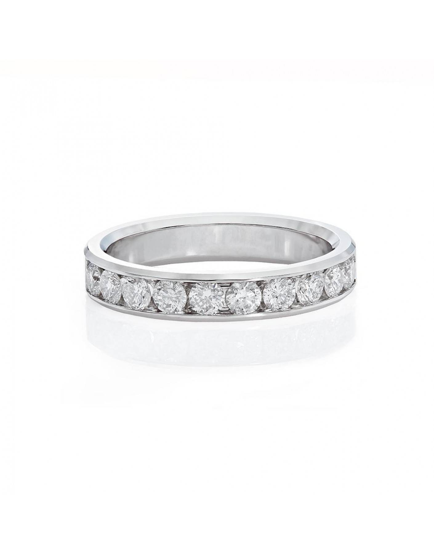 Channel Set Diamond Wedding Band In 18K White Gold (3/4 Ct. Tw Throughout 4 Diamond Wedding Bands (Gallery 5 of 15)