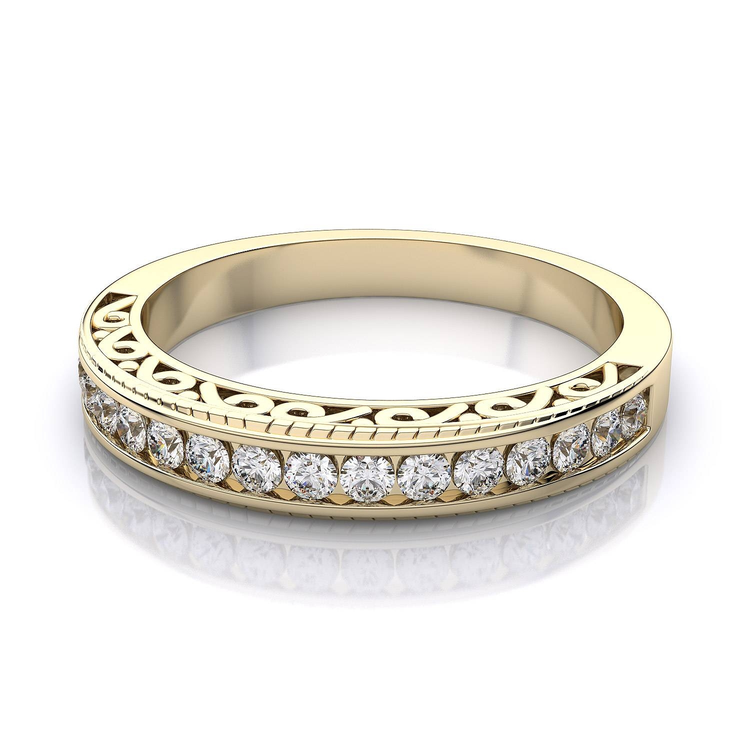 Channel Set Vintage Diamond Wedding Band In 18K Yellow Gold Si H I With Vintage Yellow Gold Wedding Rings (View 4 of 15)