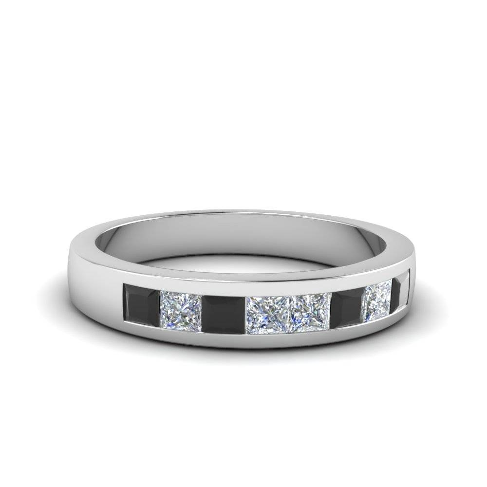 Channel Set Wedding Anniversary Band With Black Diamond In 18k Pertaining To Black Platinum Wedding Bands (View 15 of 15)