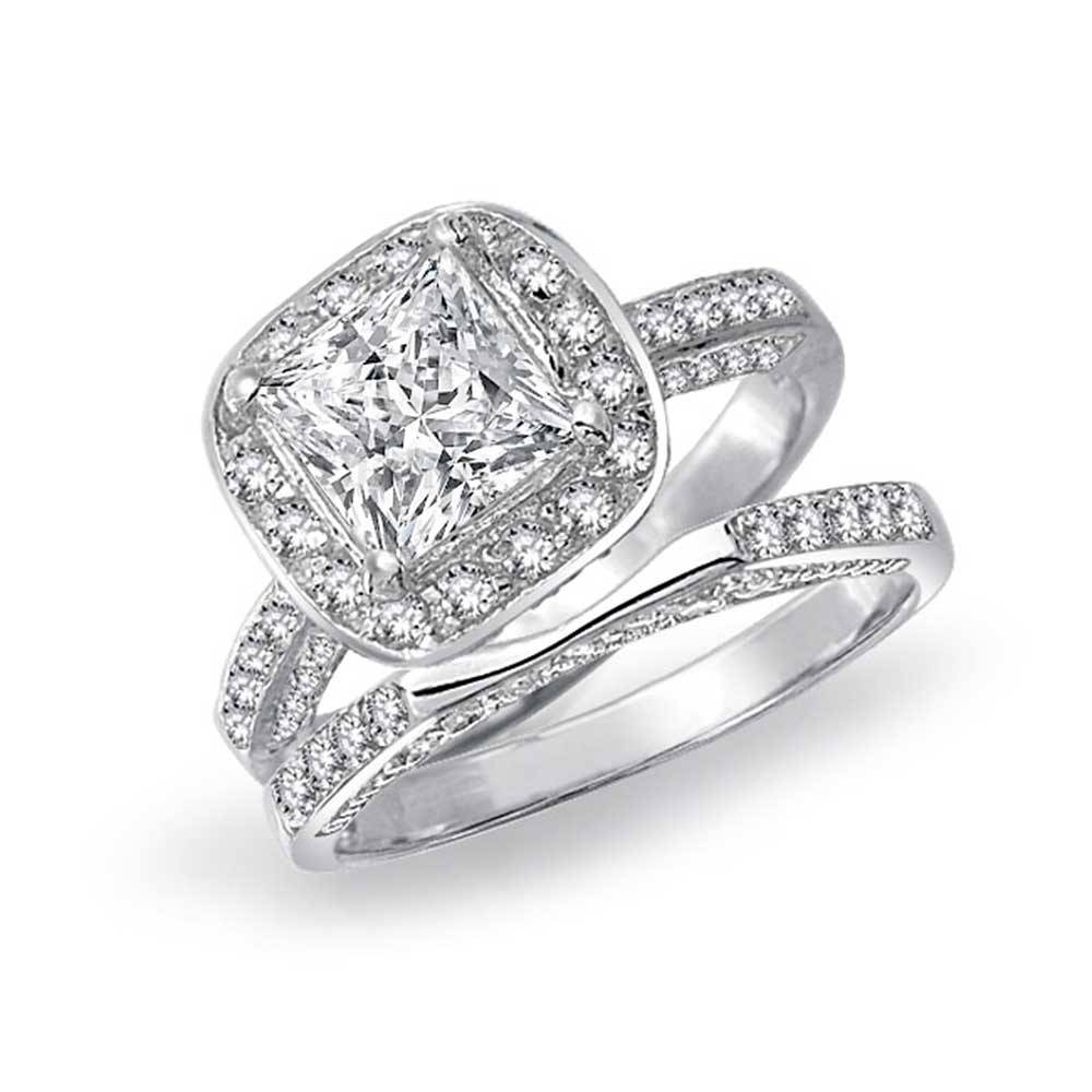 Cheap Princess Cut Engagement Rings Tags : Princes Cut Wedding Regarding Inexpensive Diamond Wedding Ring Sets (View 4 of 15)