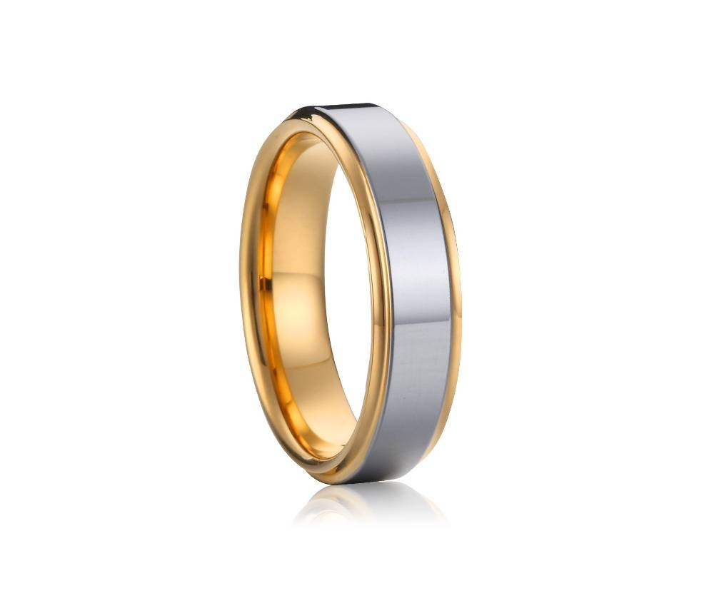 Cheap Two Tone Silver And Gold Plated Titanium Mens Wedding Ring Within Silver And Gold Mens Wedding Bands (View 7 of 15)