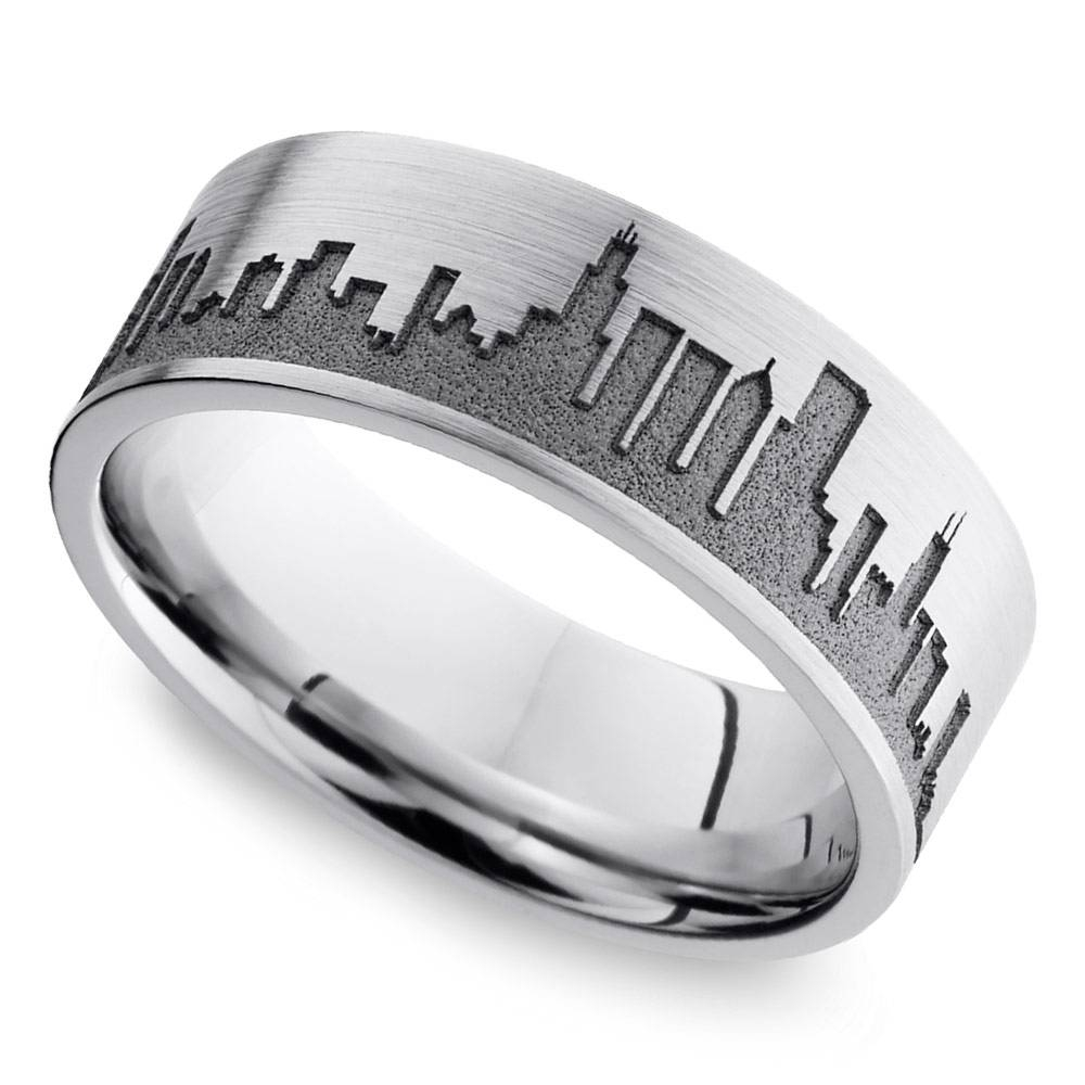 Chicago Skyline Men's Wedding Ring In Cobalt With Regard To Most Recent Wedding Bands Chicago (View 3 of 15)