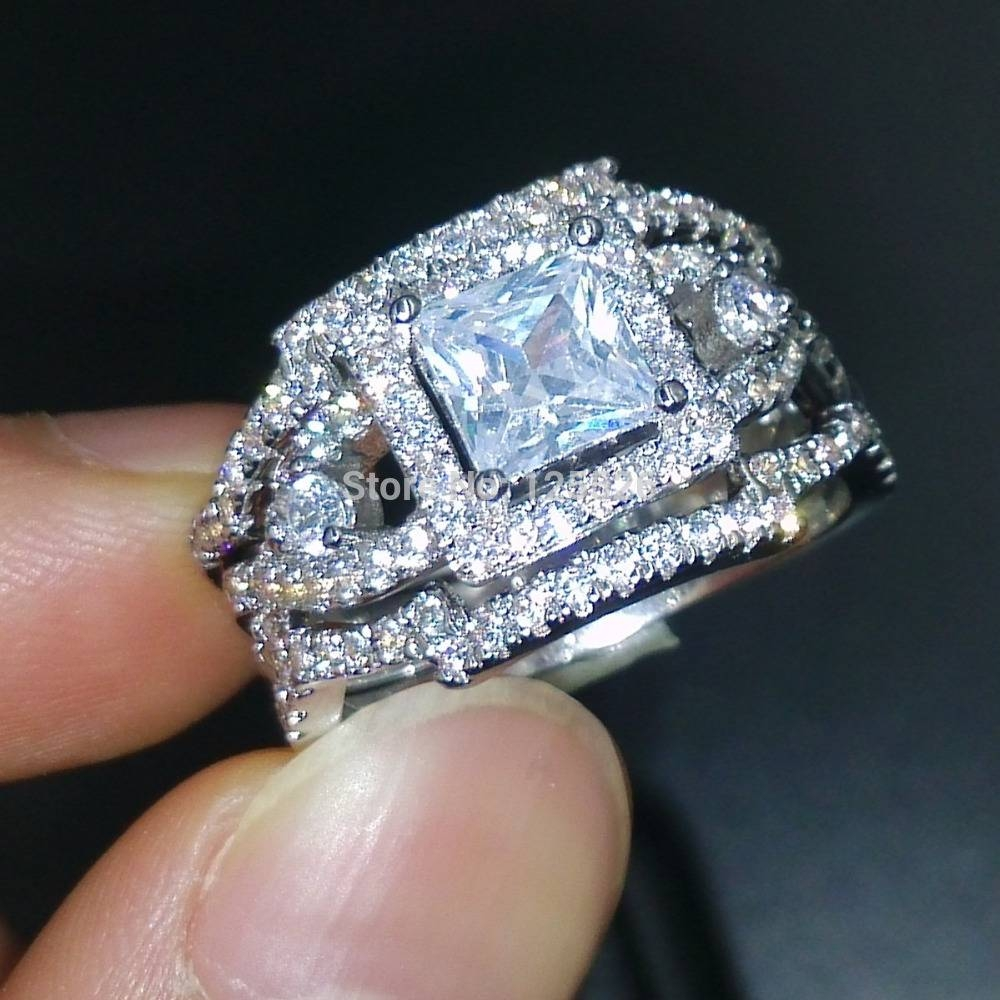 Choucong Dazzling Engagement Stone 5A Zircon Stone 925 Silver Throughout 3 Band Engagement Rings (Gallery 3 of 15)