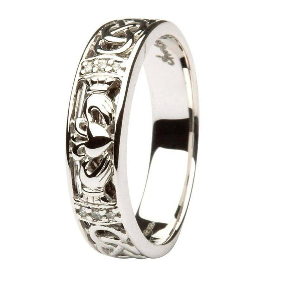 Claddagh Celtic Knot Pave Diamond Set Ladies White Gold Wedding Throughout Mens White Gold Claddagh Wedding Bands (Gallery 6 of 15)
