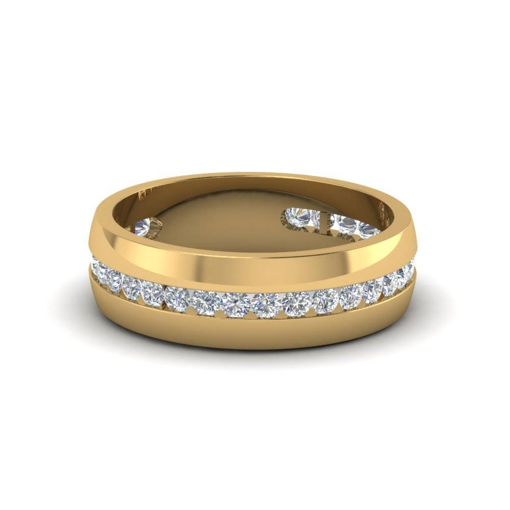 Classic 14K Yellow Gold Mens Wedding Rings |Fascinating Diamonds In Most Recent Classic Gold Wedding Bands (Gallery 13 of 15)
