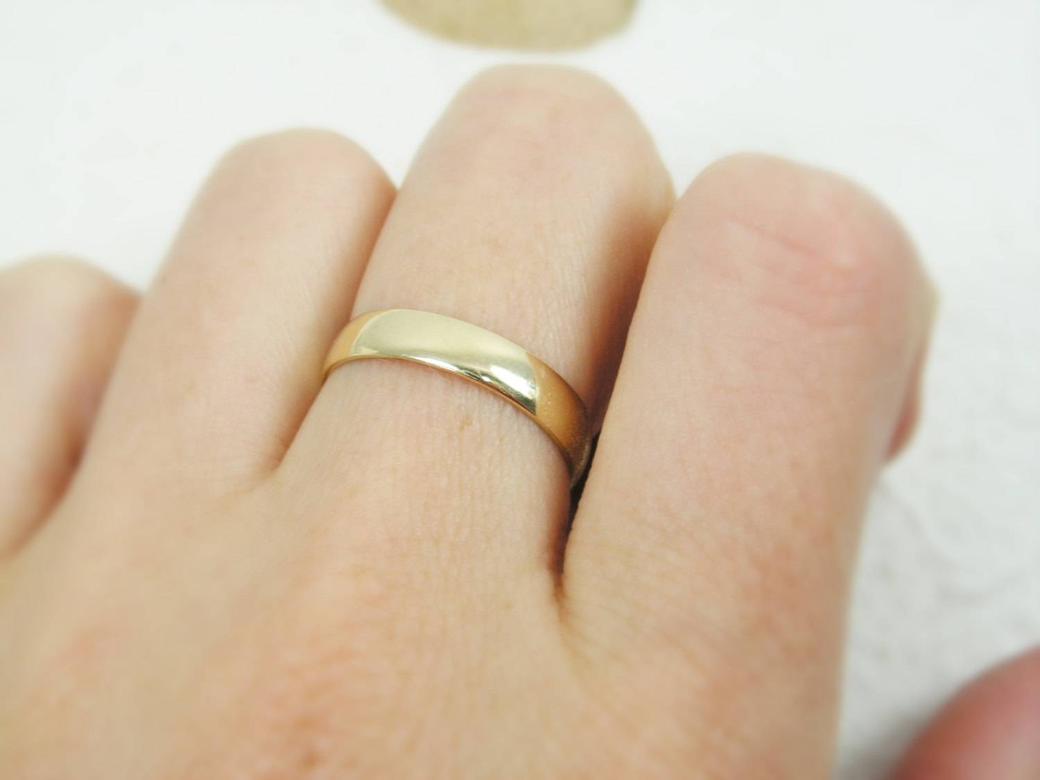 Classic 4Mm Rounded Wedding Band. 14K Yellow Gold (View 4 of 15)