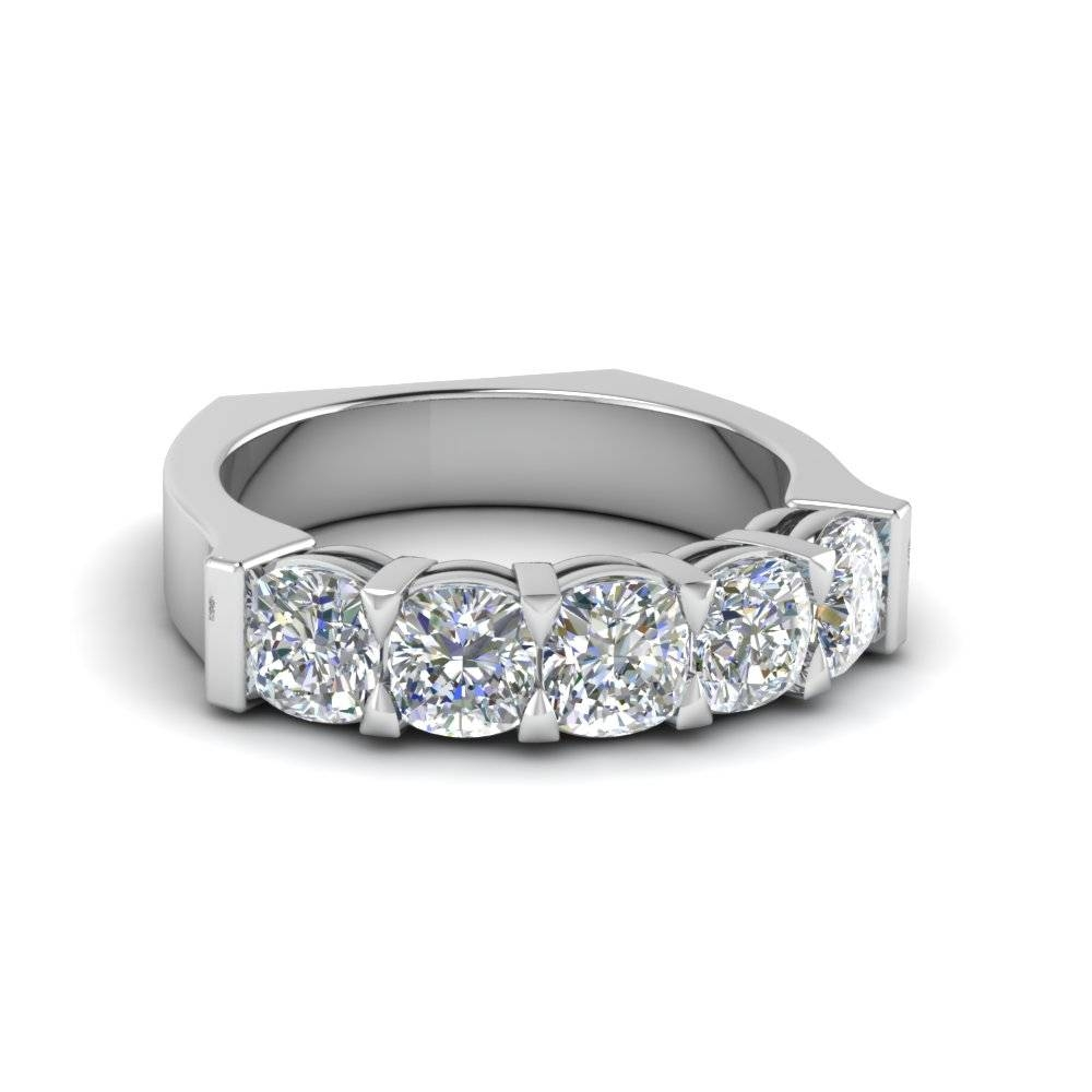 Classic Cushion Cut Five Stone Diamond Wedding Ring With White Intended For Most Recently Released Five Diamond Wedding Bands (View 6 of 15)