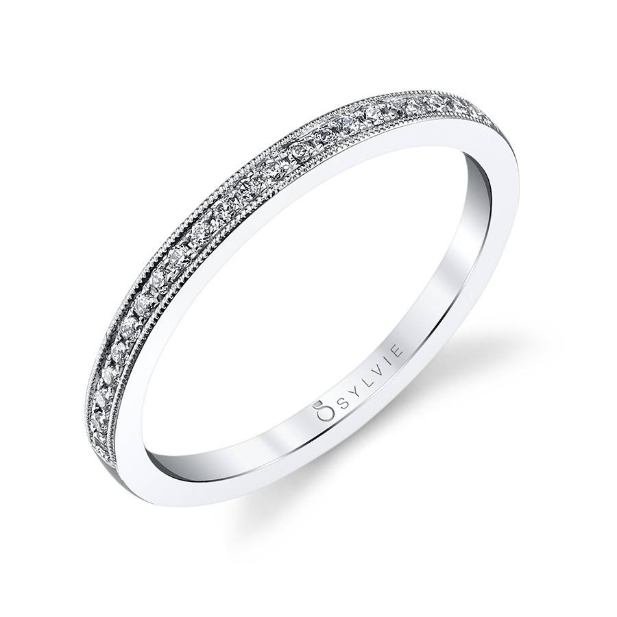 Classic Milgrain Edge Diamond Wedding Band Within 2017 Platinum Milgrain Wedding Bands (View 4 of 15)