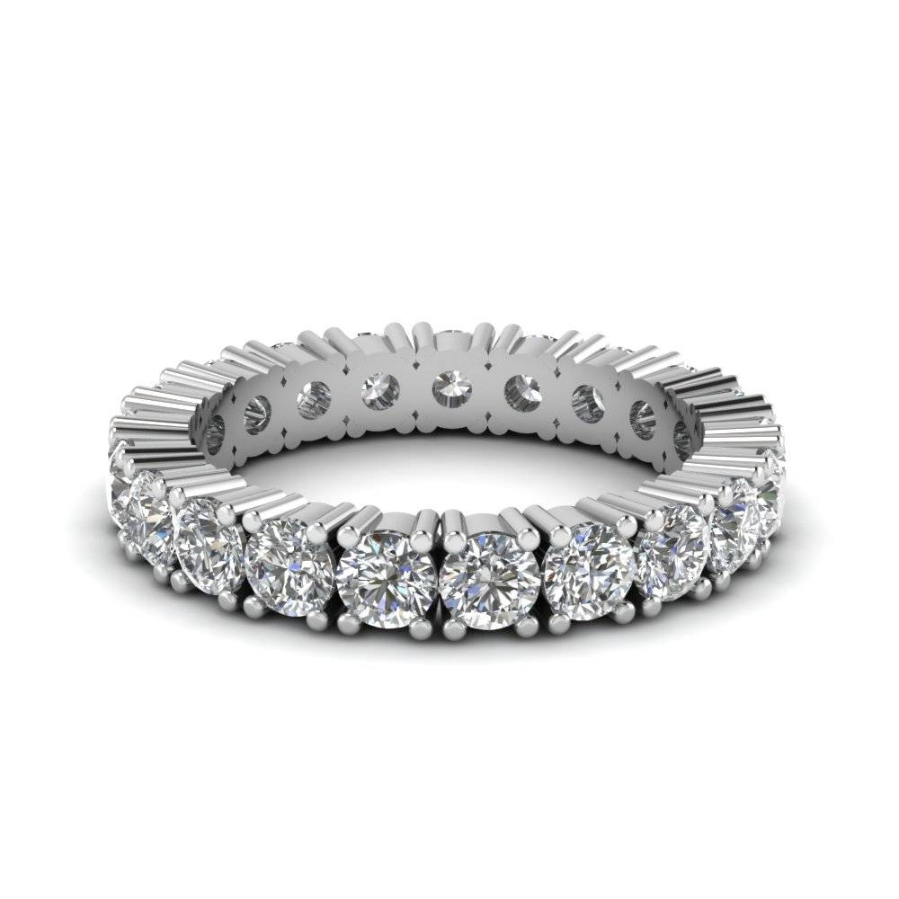 Classic Round Eternity Wedding Band With White Diamond In 14k Throughout Newest Platinum Eternity Wedding Bands (View 1 of 15)
