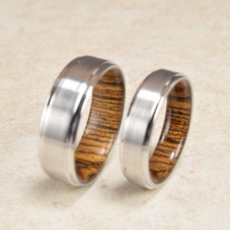 Cobalt & Bocote Wood Lined Ring // Engagement Ring // Exotic Wood With Regard To Recent Exotic Wedding Bands (Gallery 1 of 15)