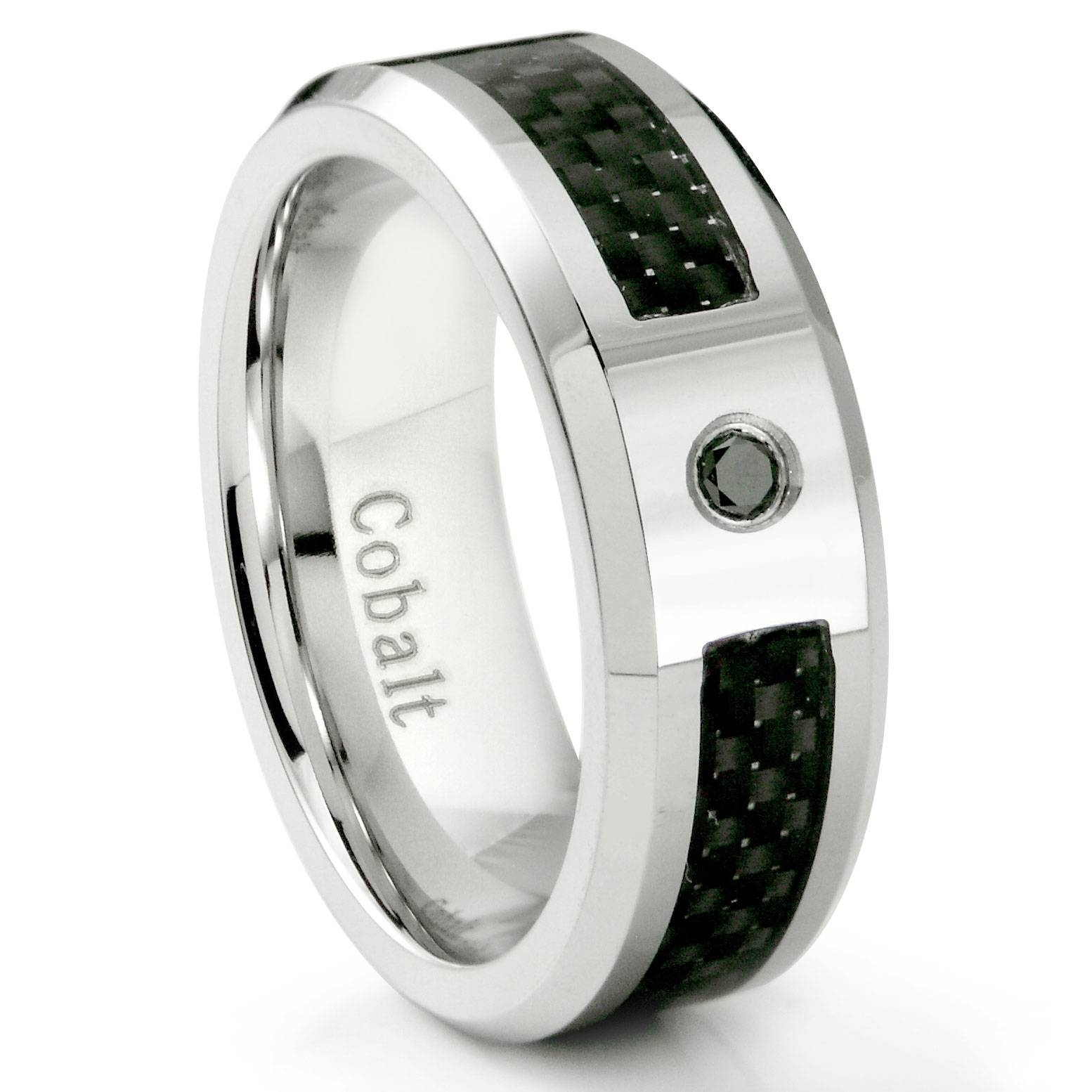 Cobalt Chrome 8Mm Black Diamond & Black Carbon Fiber Inlay Wedding Intended For Carbon Wedding Bands (View 8 of 15)