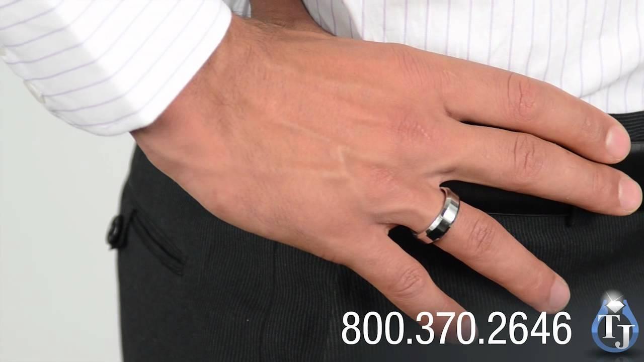 Cobalt Wedding Bandbenchmark, Rowan High Polish Beveled Edge Inside Most Popular Beveled Edge Mens Wedding Bands (View 5 of 15)