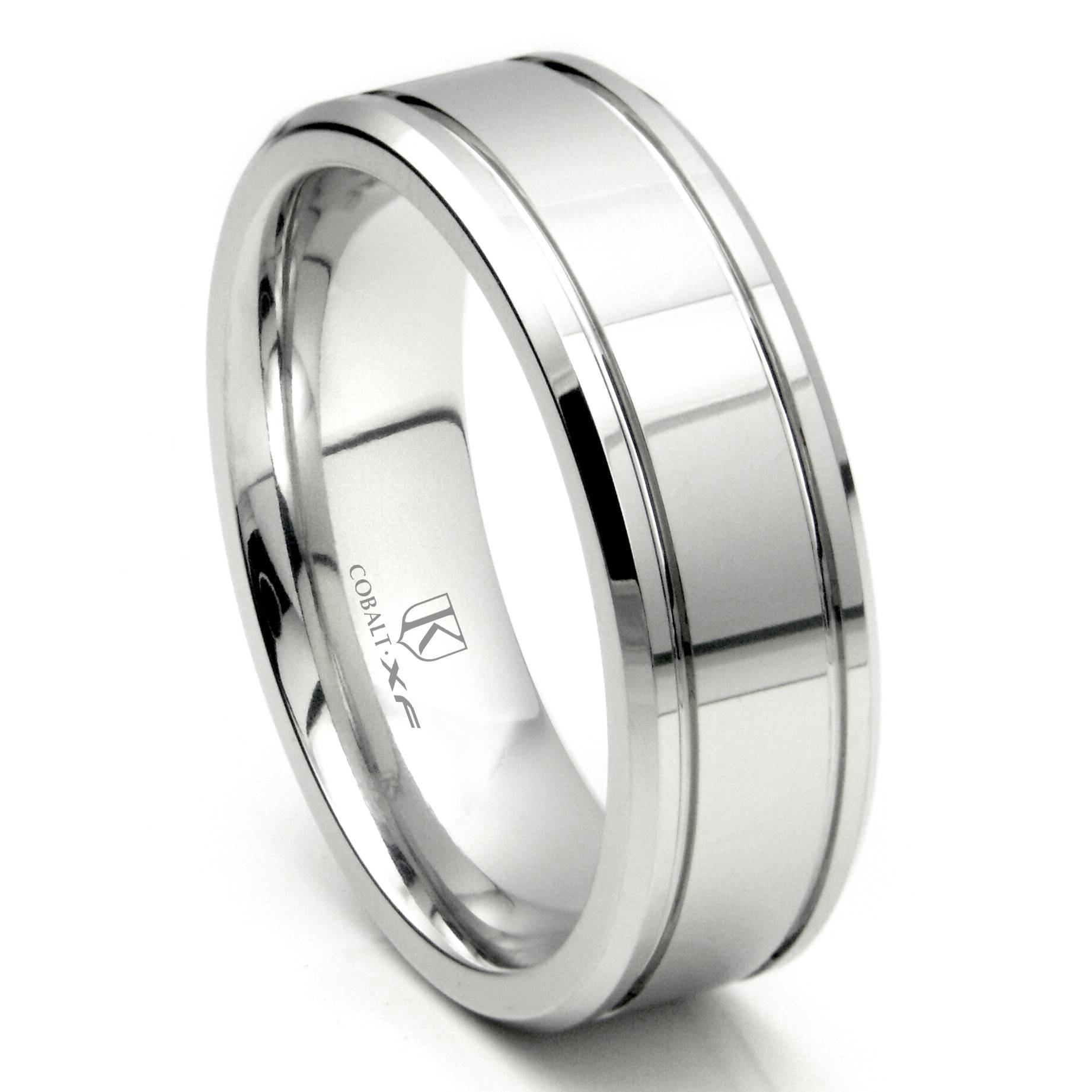 Cobalt Xf Chrome 8Mm Double Groove High Polish Wedding Band Ring Inside 8Mm White Gold Wedding Bands (View 6 of 15)