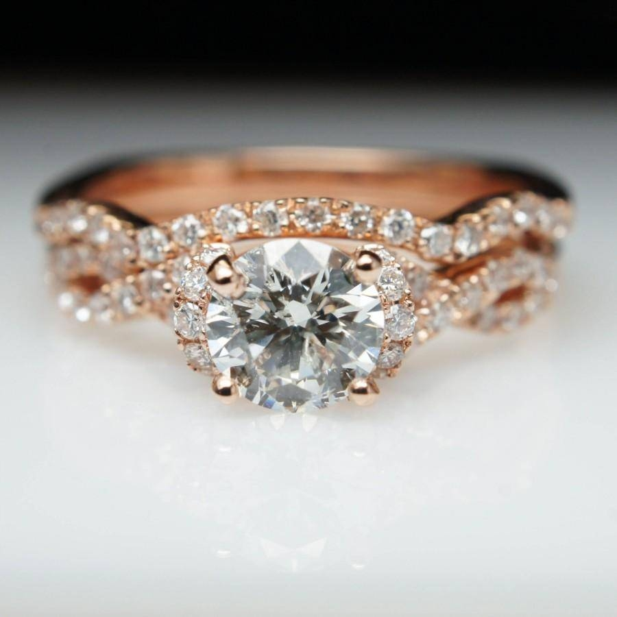Criss Cross Half Halo Diamond Engagement Ring Solitaire Rose Gold With Regard To Best Wedding Bands For Halo Engagement Rings (View 5 of 15)