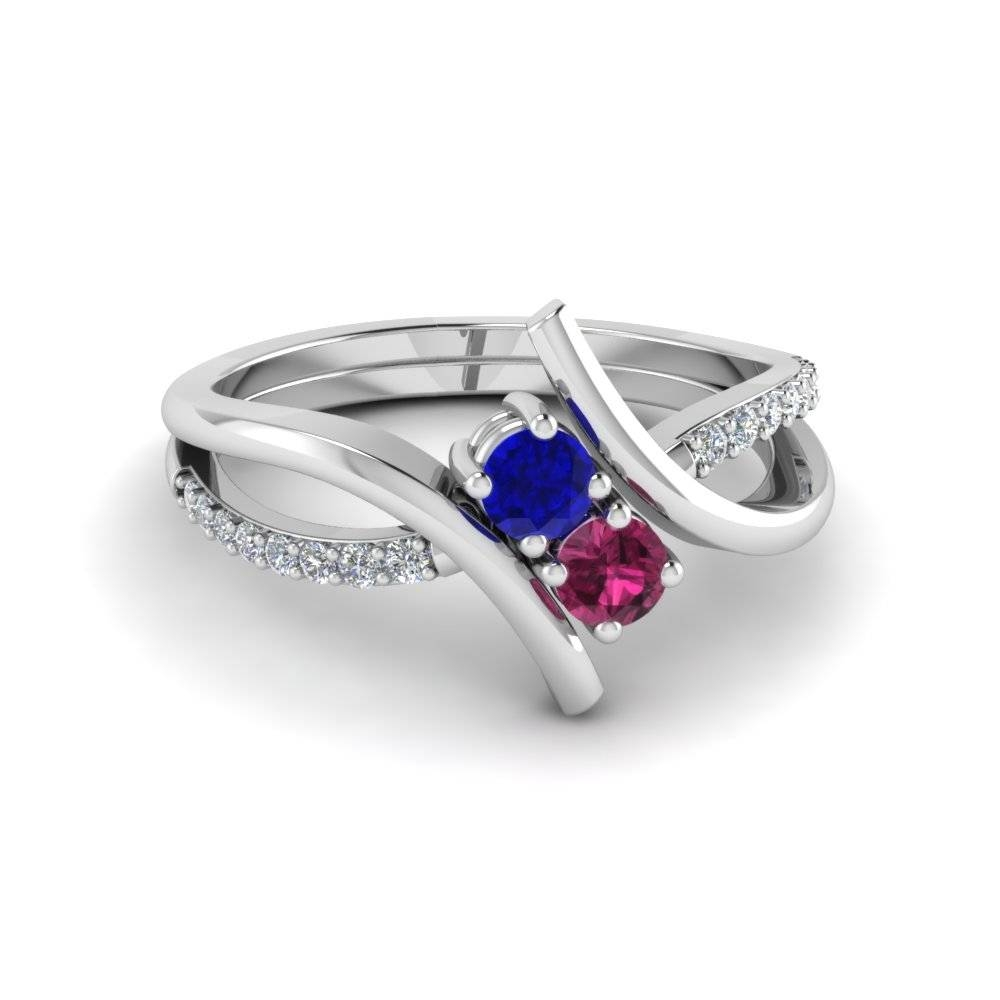 Crossover 2 Sapphire And Diamond Engagement Ring In 14K White Gold With Crossover Engagement Rings (View 6 of 15)